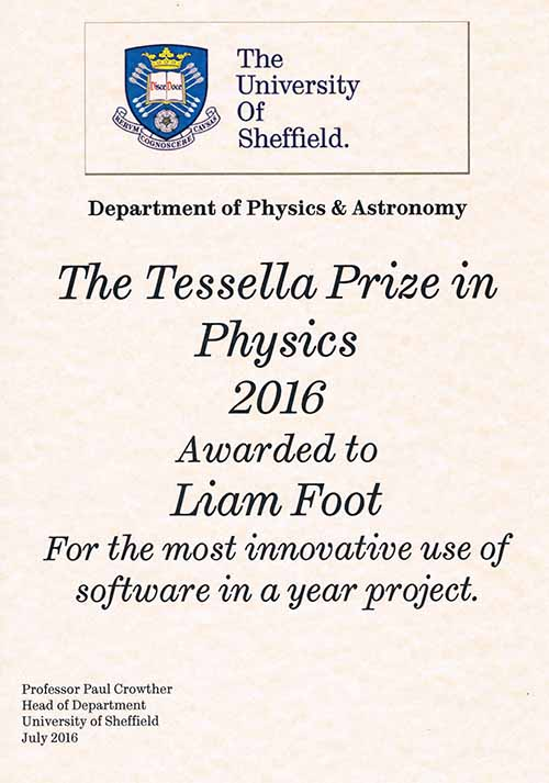 Tessella Prize, for developing the most innovative software in an undergraduate project